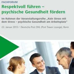 Fachforum in Bonn: Respektvoll führen – psychische Gesundheit fördern