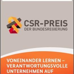 """""""Voneinander lernen – Verantwortungsvolle Unternehmen auf Erfolgskurs"""", Leitfaden zum CSR-Preis 2013 (Quelle: BMAS)."""