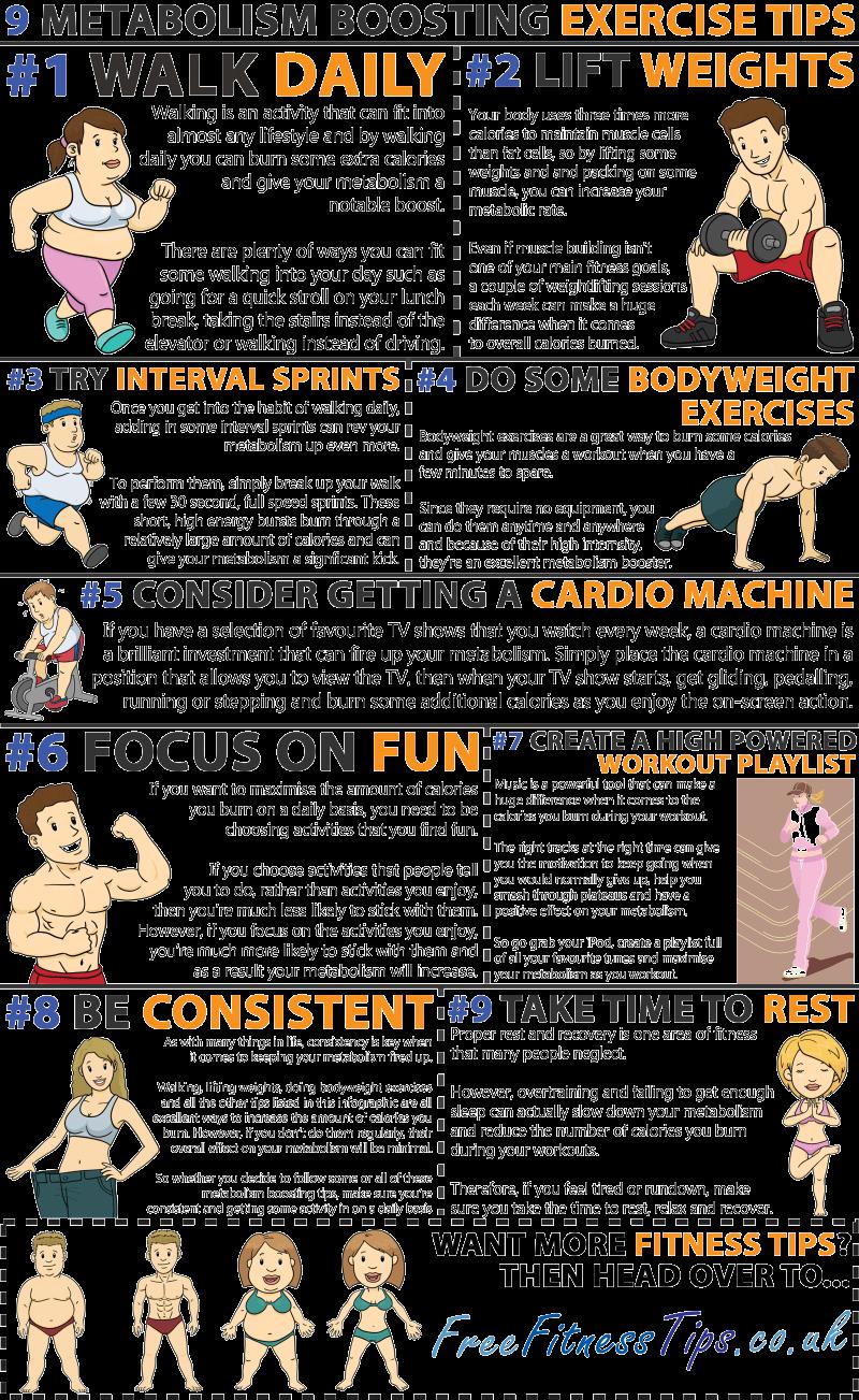 Infografik, die neun einfache Fitnesstipps zeigt