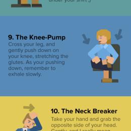 Die oben eingefügte Infografik zeigt 17 einfache Übungen auf, die für mehr Bewegung am Schreibtisch sorgen (Quelle: officevibe.com)