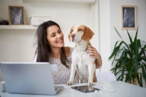 Frau, Hund, Laptop, Stressabbau, gute Laune, effizientes Homeoffice, Laptop, Arbeitsplatzgestaltung, Tipps für gut organisiertes Homeoffice