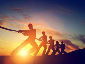 Team, Stärke, Kraft, Tauziehen, Wettkampf, Sonnenuntergang, Männer, Frauen